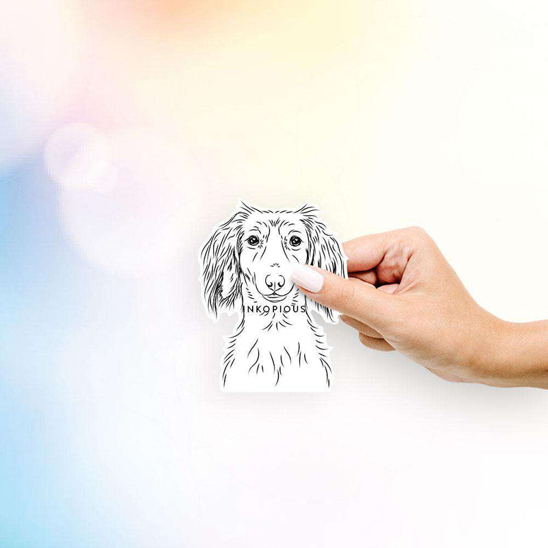 Roux the Long Haired Dachshund - Decal Sticker