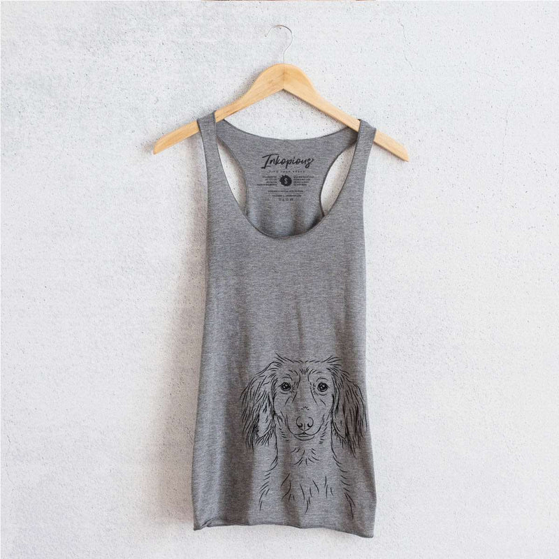 Roux the Long Haired Dachshund - Tri-Blend Racerback Tank Top
