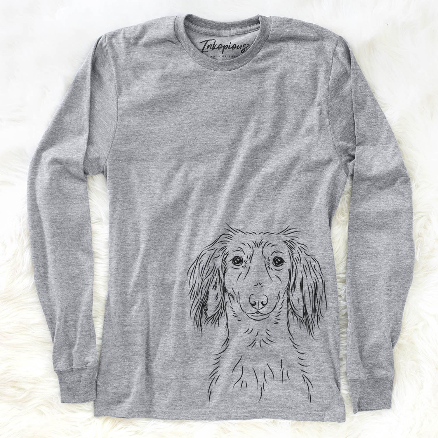 Roux the Long Haired Dachshund - Long Sleeve Crewneck