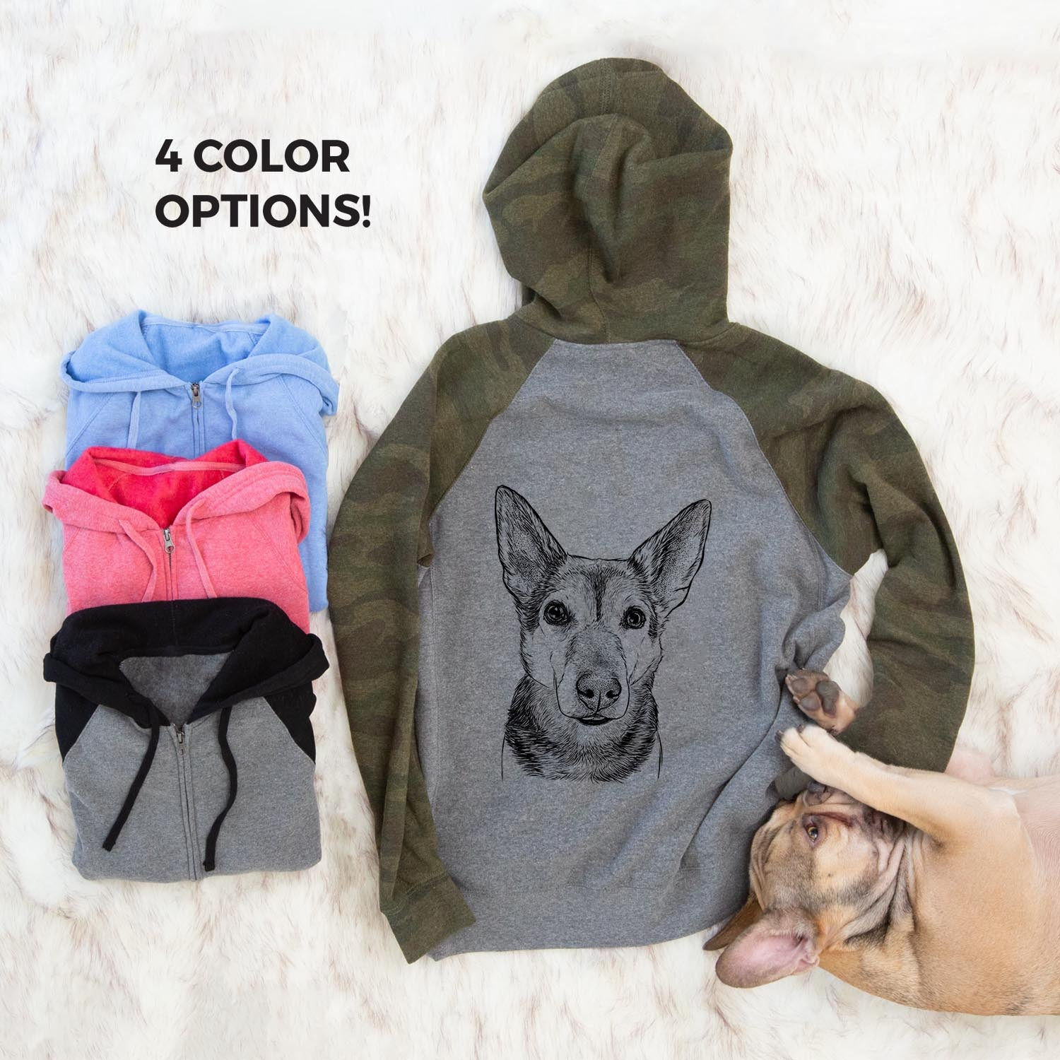 Sammie the Mixed Breed - Unisex Raglan Zip Up Hoodie