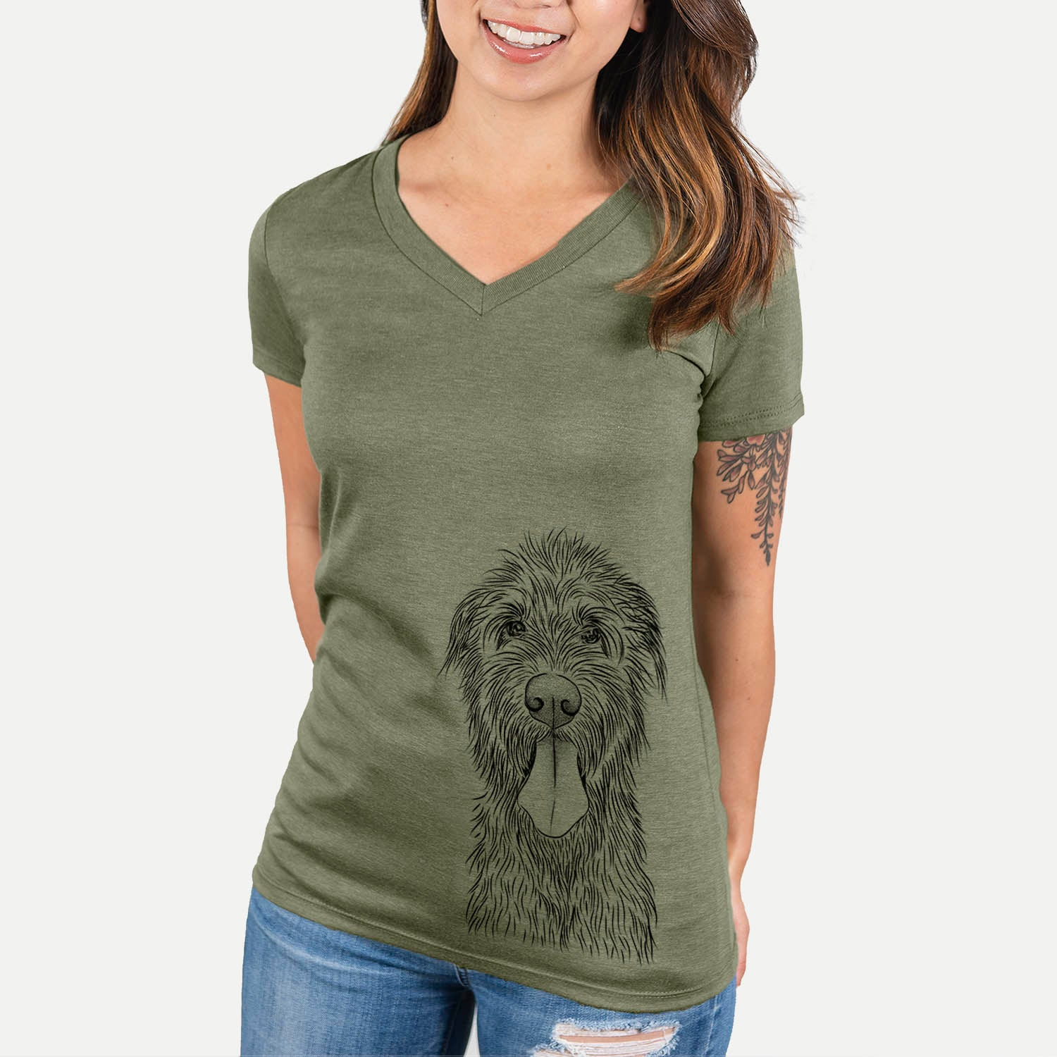 Sullivan the Irish Wolfhound - Women's Modern Fit V-neck Shirt