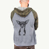 Tiny Archie the Mixed Breed - Unisex Raglan Zip Up Hoodie