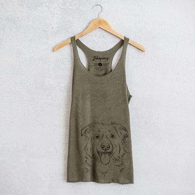 Tucker the Border Collie/Shepherd - Tri-Blend Racerback Tank