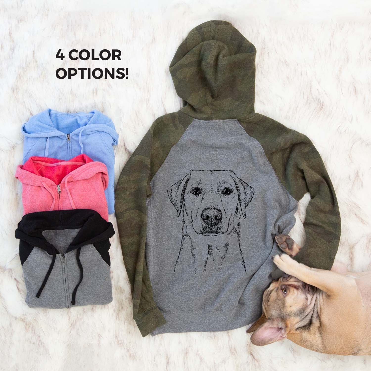 Zoe the Yellow Lab - Unisex Raglan Zip Up Hoodie