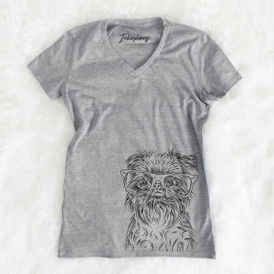 Alo the Brussels Griffon - Women's Modern Fit V-neck Shirt