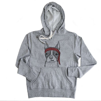 Bean the Boston Terrier - Grey French Terry Hooded Sweatshirt