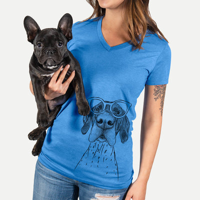 Booze the German Shorthaired Pointer - Women's Modern Fit V-neck Shirt