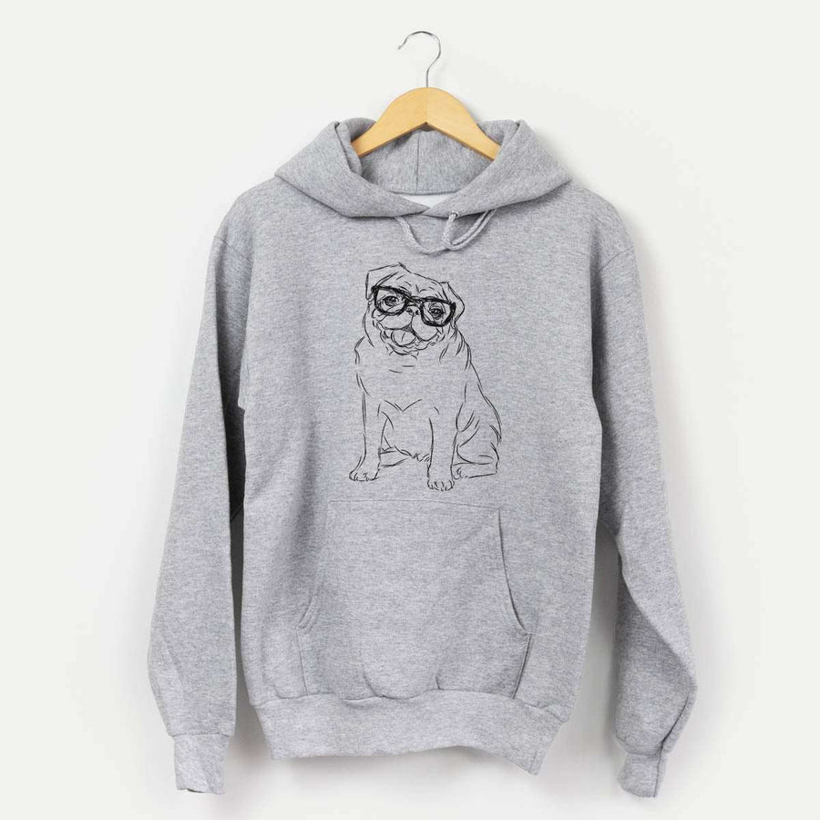 Higgins the Nerd Pug - Mens Hooded Sweatshirt