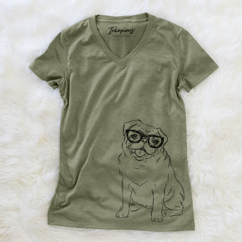 Higgins the Pug - Women's Modern Fit V-neck Shirt