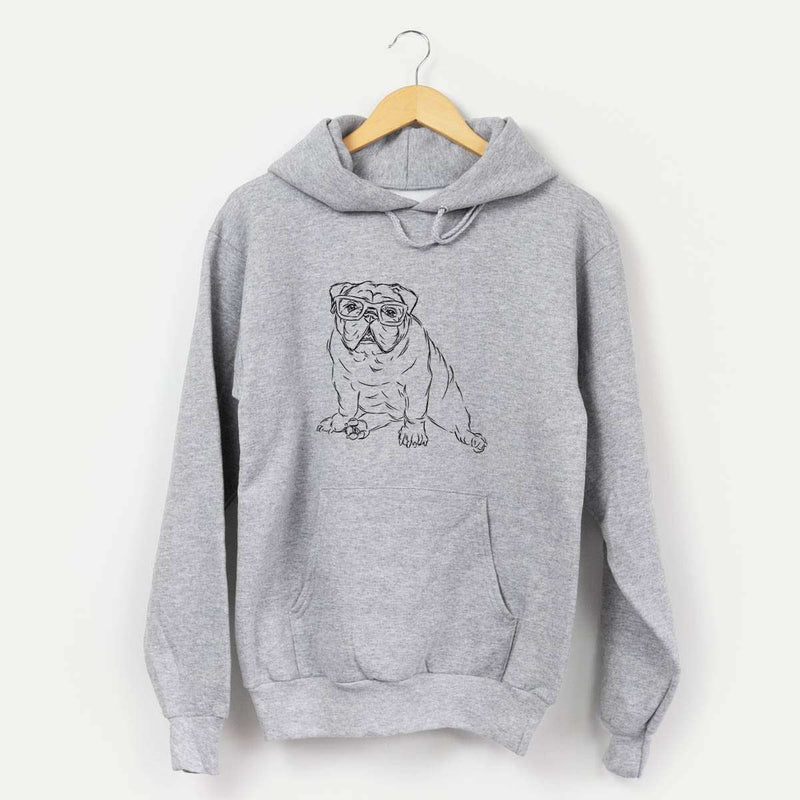 Oliver the Nerd Bulldog - Mens Hooded Sweatshirt
