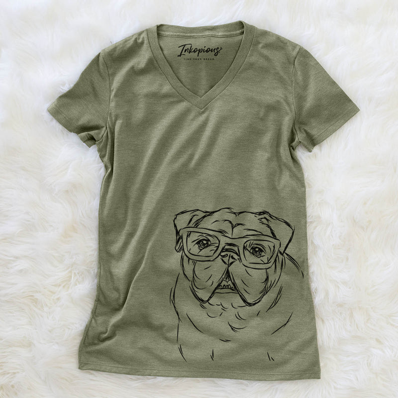 Oliver the English Bulldog - Women's Modern Fit V-neck Shirt