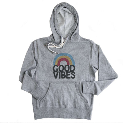 Good Vibes Rainbow  - French Terry Hooded Sweatshirt