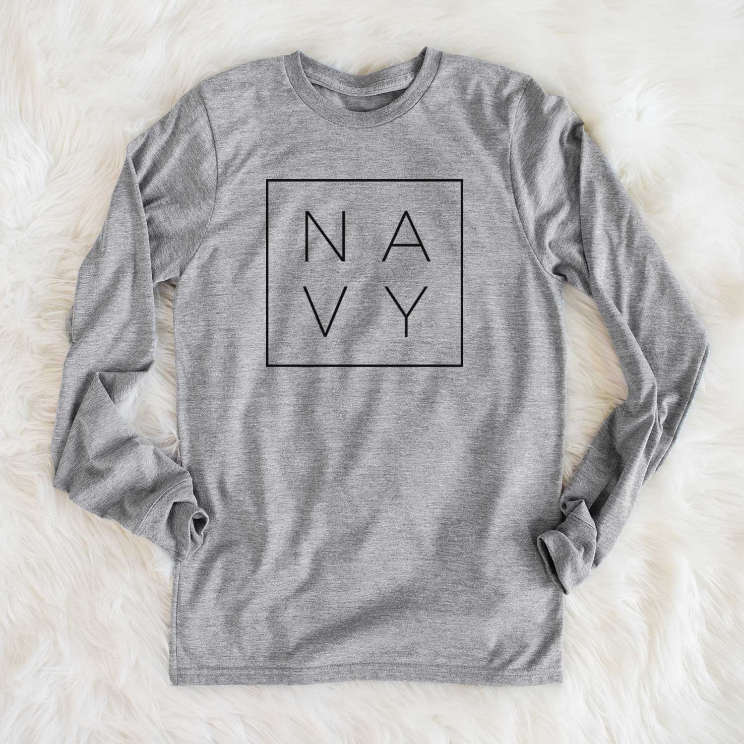 Navy Boxed  - Long Sleeve Crewneck