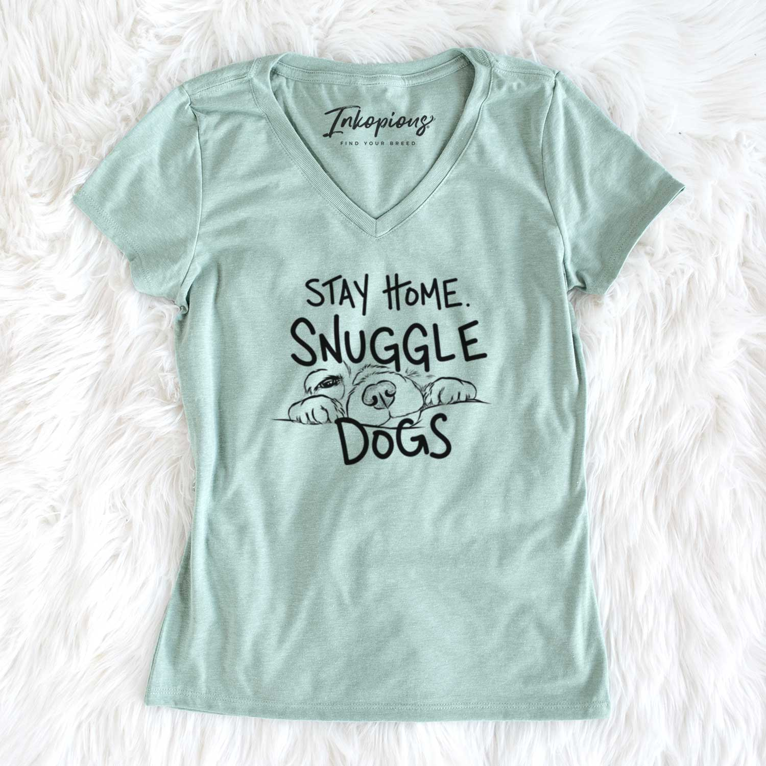 Stay Home Snuggle Dogs  - Women's Perfect V-neck Shirt