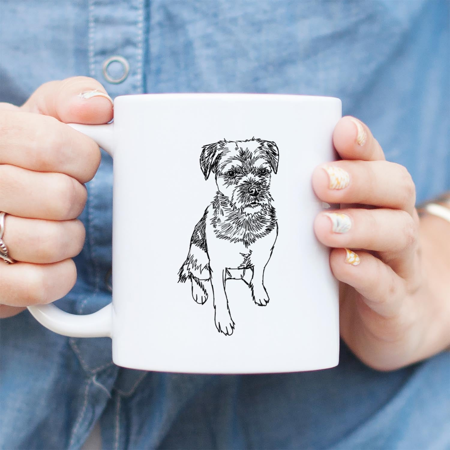 Doodled Cosmo the Border Terrier - Mug