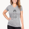 Doodled Fallon the Irish Red and White Setter - Women's Modern Fit V-neck Shirt
