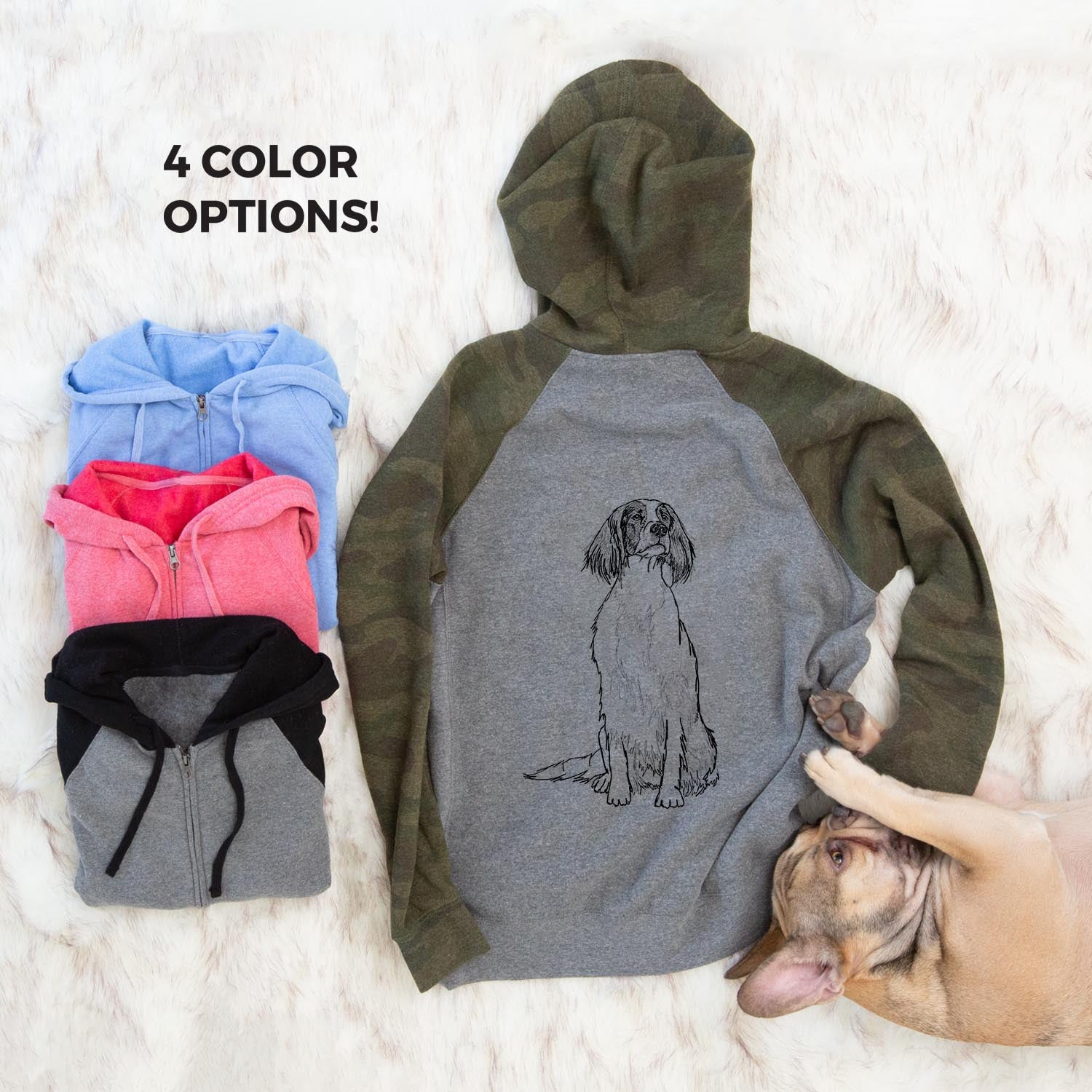 Doodled Fallon the Irish Red and White Setter - Unisex Raglan Zip Up Hoodie