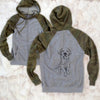 Doodled Finley the Golden Retriever Puppy - Unisex Raglan Zip Up Hoodie