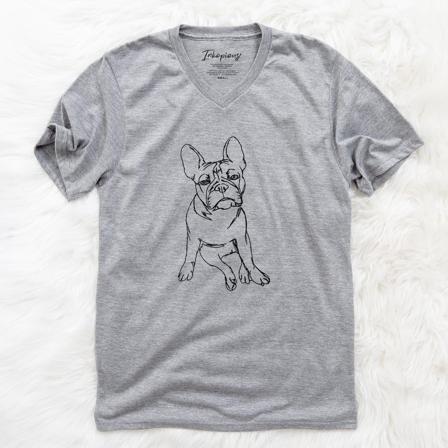 Doodled Frankenstein the French Bulldog - Unisex V-Neck Shirt