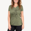 Doodled Gracie the Great Dane - Women's Modern Fit V-neck Shirt