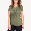 Doodled Jasper the Mixed Breed - Women's Modern Fit V-neck Shirt