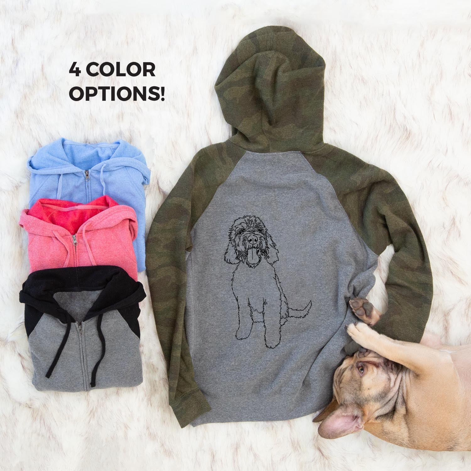 Doodled Ruby the Goldendoodle - Unisex Raglan Zip Up Hoodie