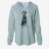 Doodled Whiskey the Doberman Pinscher - Cali Wave Hooded Sweatshirt