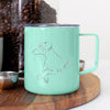 Doodled Caesar the Doberman Pinscher - 14oz Metal Mug