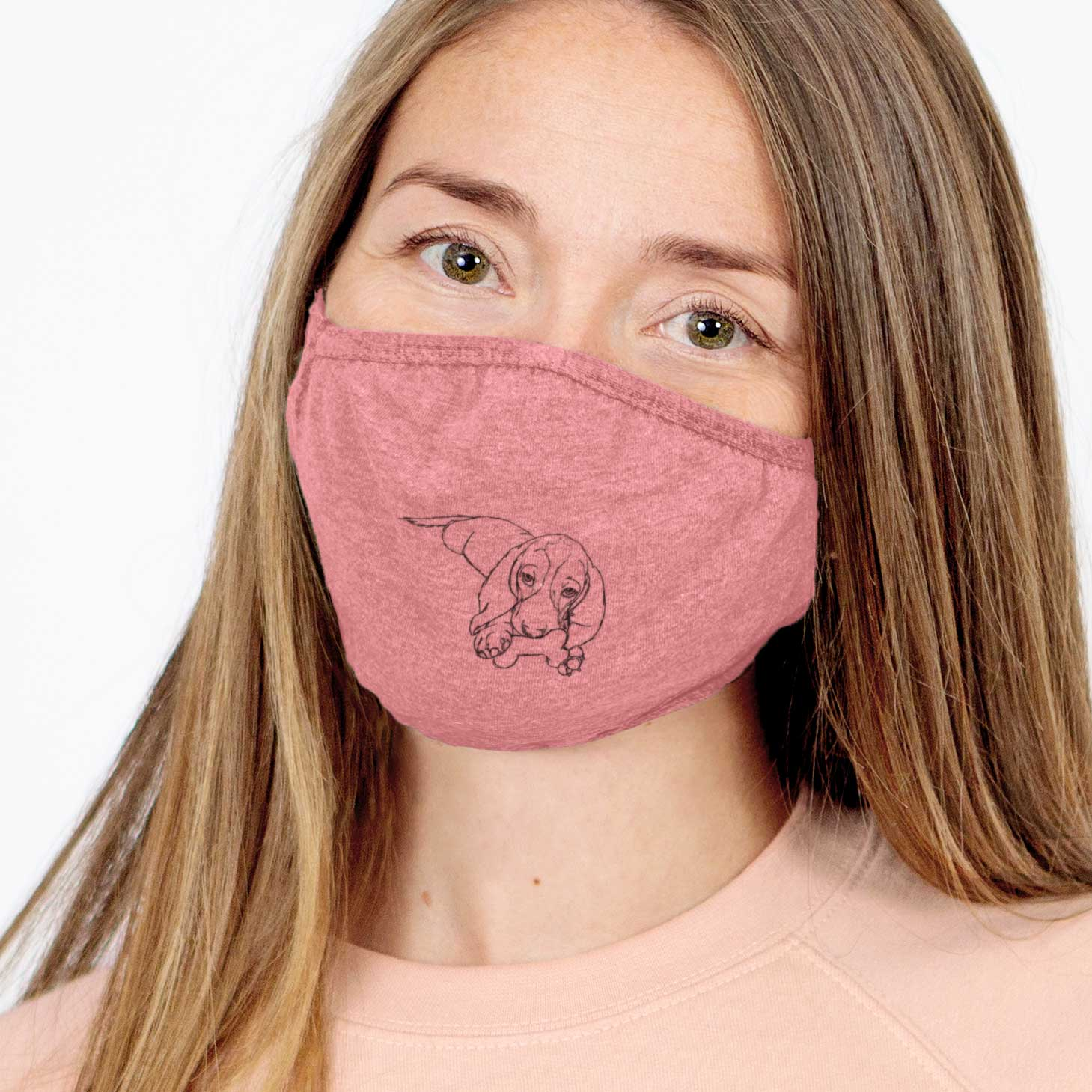 Doodled Gracie the Basset Hound Face Mask
