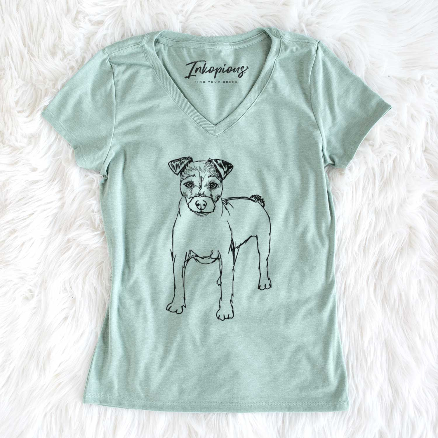 Doodled Lucky the Jack Russell Terrier - Women's Perfect V-neck Shirt