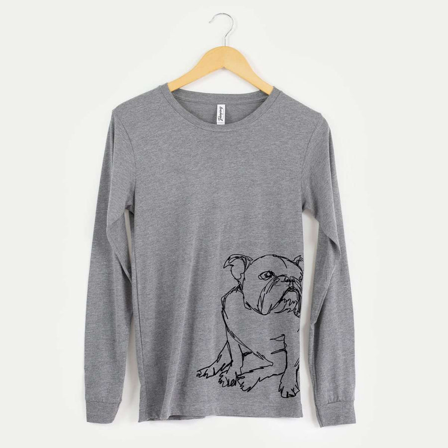 English Bulldog - Doodled - Long Sleeve Crewneck