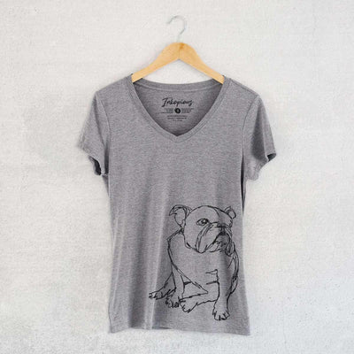 English Bulldog - Doodled - Women's Modern Fit V-neck Shirt