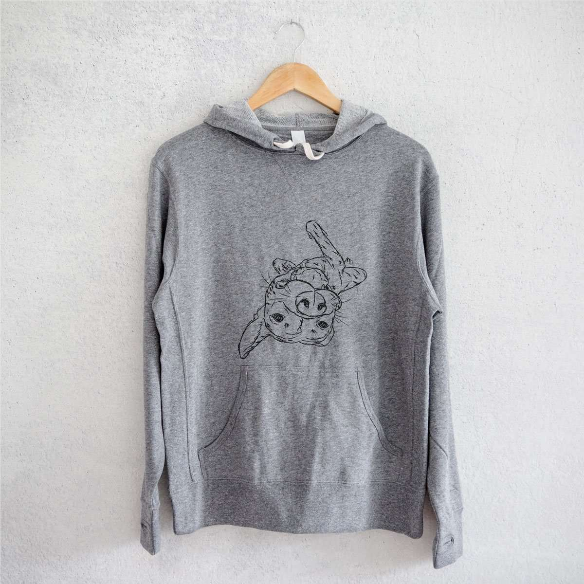 Goose the Mixed Breed - Grey French Terry Hooded Sweatshirt