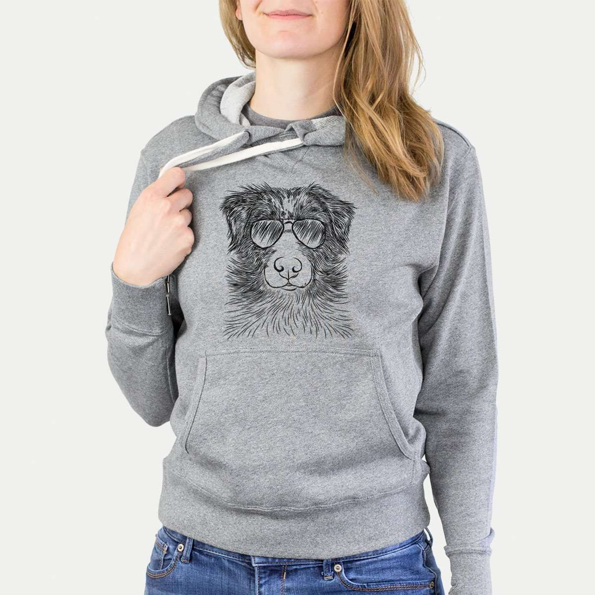 Gram the Australian Shepherd - Grey French Terry Hooded Sweatshirt