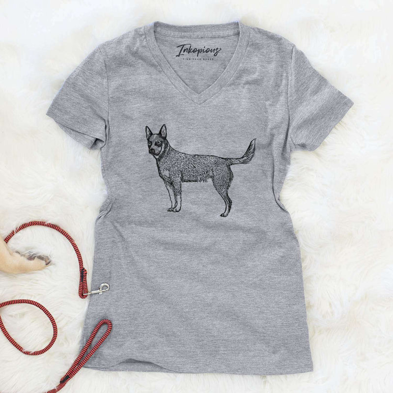 Halftone Australian Cattle Dog  - Women's Modern Fit V-neck Shirt