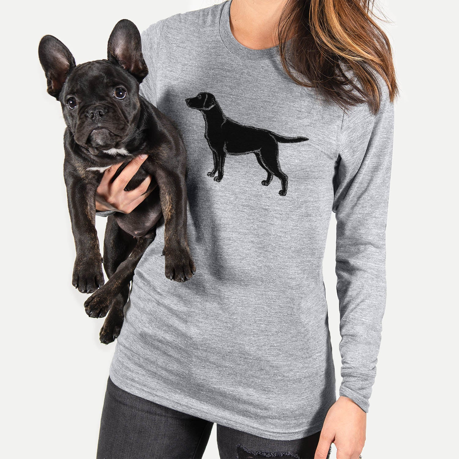 Halftone Black Lab  - Long Sleeve Crewneck