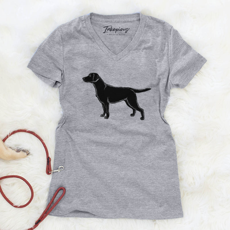 Halftone Black Lab  - Women's Modern Fit V-neck Shirt