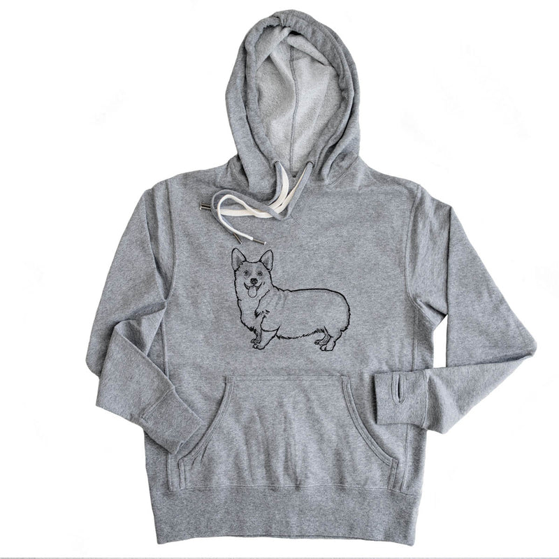 Halftone Corgi  - French Terry Hooded Sweatshirt