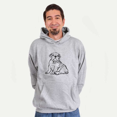 Halftone English Bulldog Puppy  - Mens Hooded Sweatshirt