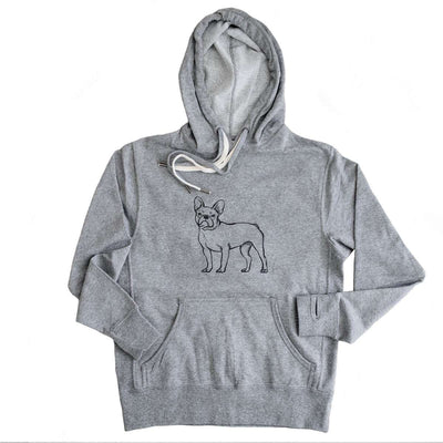 Halftone French Bulldog  - French Terry Hooded Sweatshirt
