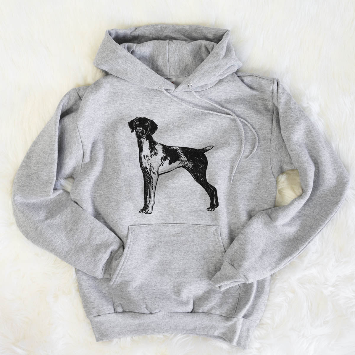 Halftone Docked German Shorthaired Pointer  - Mens Hooded Sweatshirt
