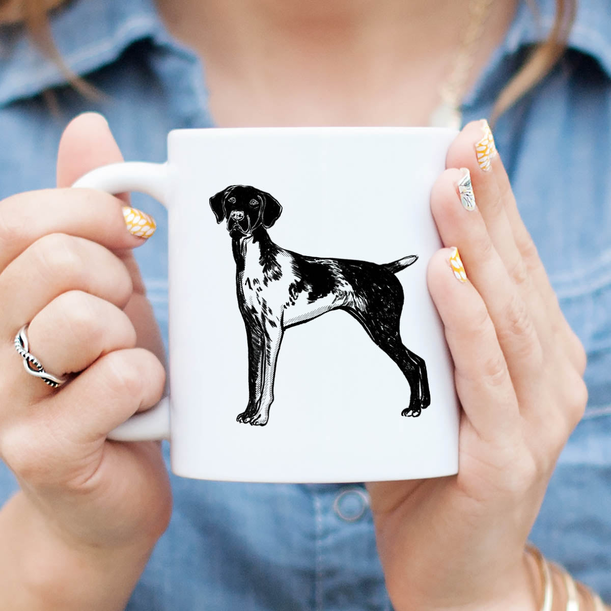 Halftone Docked German Shorthaired Pointer  - Mug