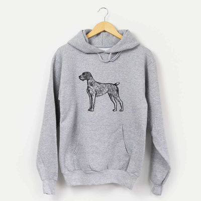 Halftone German Wirehaired Pointer  - Mens Hooded Sweatshirt