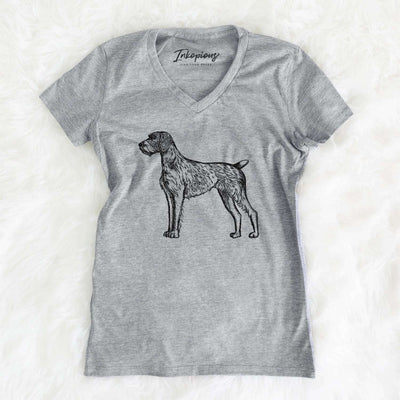 Halftone German Wirehaired Pointer  - Women's Modern Fit V-neck Shirt