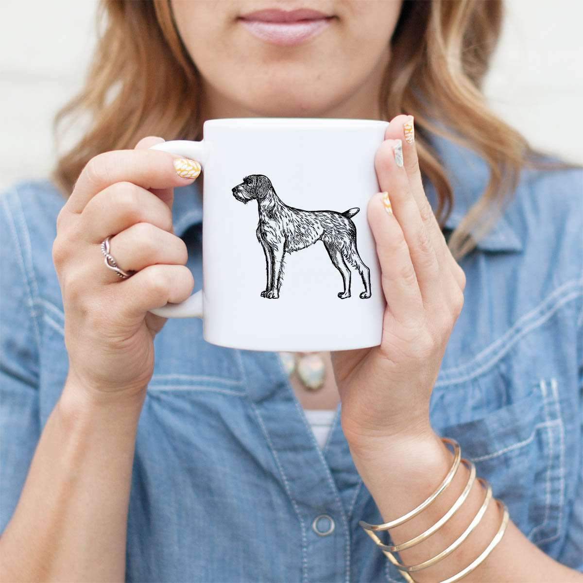 Halftone German Wirehaired Pointer  - Mug