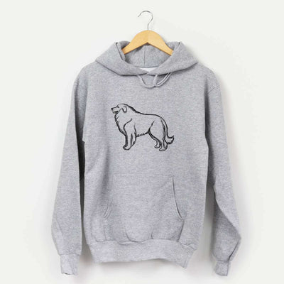 Halftone Great Pyrenees Profile  - Mens Hooded Sweatshirt