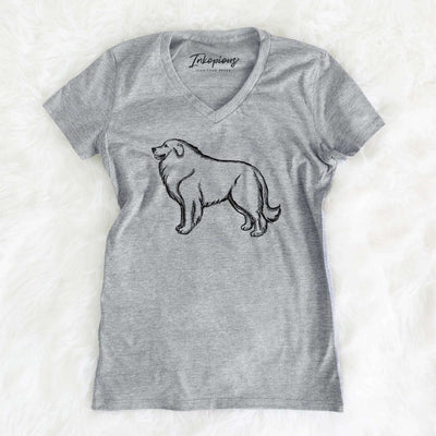 Halftone Great Pyrenees Profile  - Women's Modern Fit V-neck Shirt