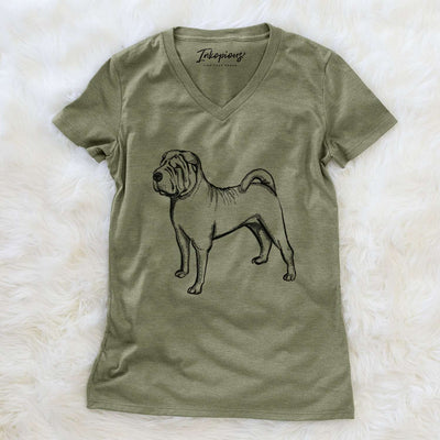 Halftone Shar Pei  - Women's Modern Fit V-neck Shirt
