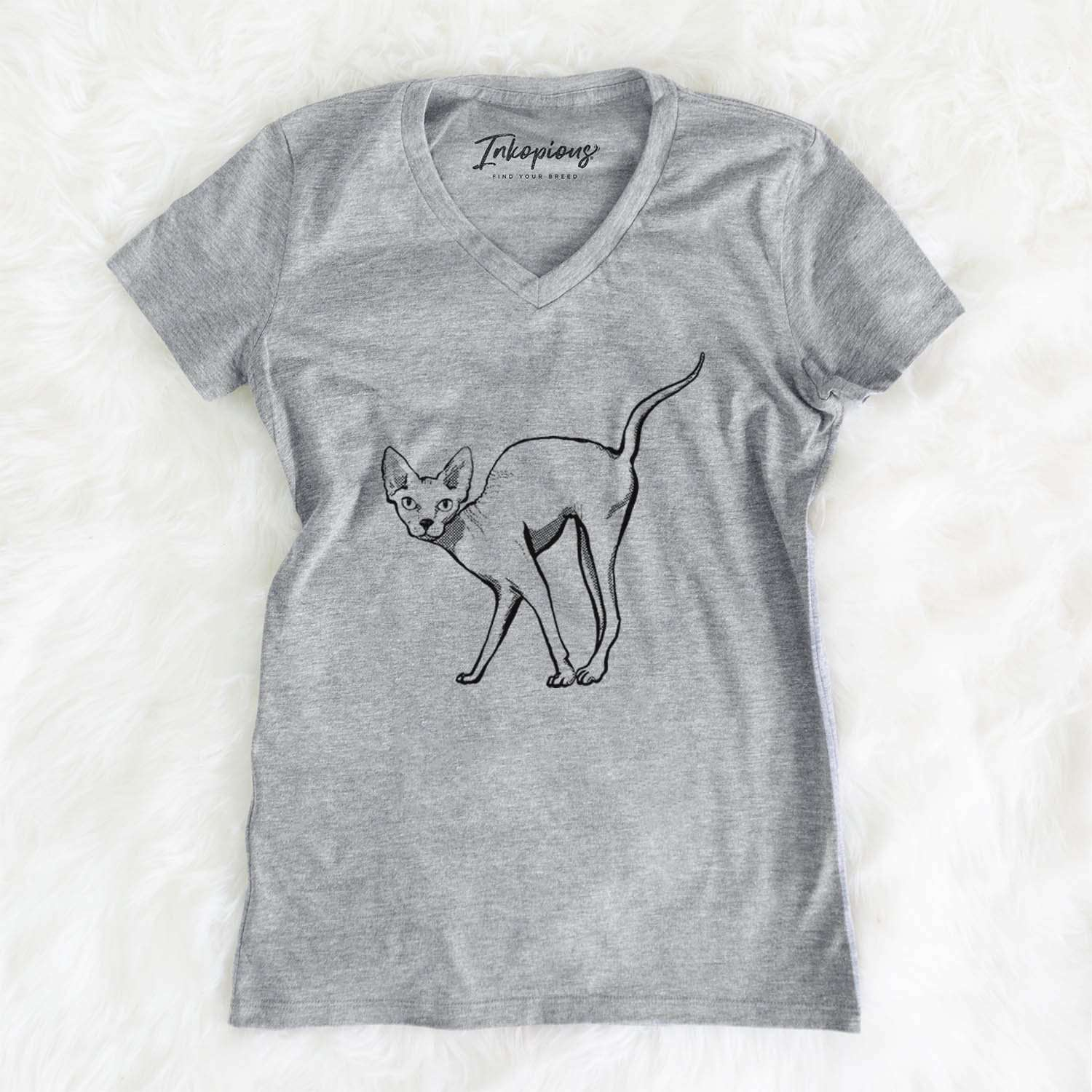 Halftone Sphynx  - Women's Modern Fit V-neck Shirt