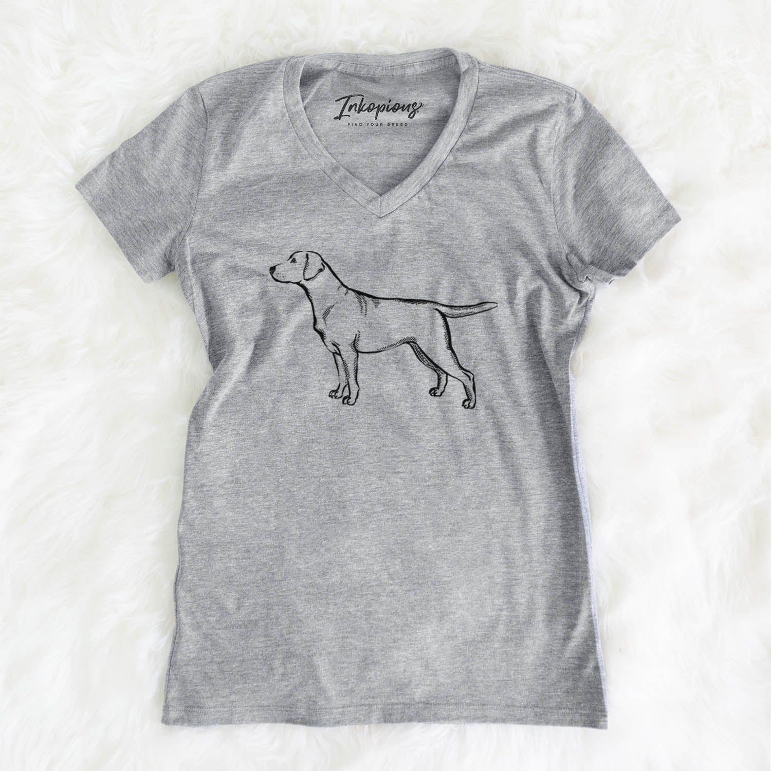 Halftone Yellow Labrador Retriever  - Women's Modern Fit V-neck Shirt
